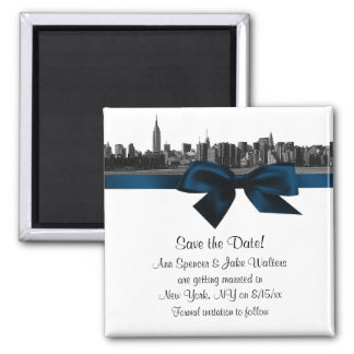 NYC Wide Skyline Etched BW Navy Blue Save the Date 2 Inch Square Magnet