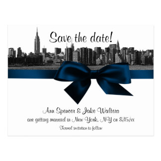 NYC Wide Skyline Etched BW Navy Blue Save the Date Postcard