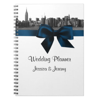 NYC Wide Skyline Etched BW Navy Planner Notebook