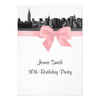 NYC Wide Skyline Etched BW Pink Birthday Party Personalized Invite