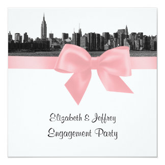 NYC Wide Skyline Etched BW Pink Engagement Pty SQ 5.25x5.25 Square Paper Invitation Card