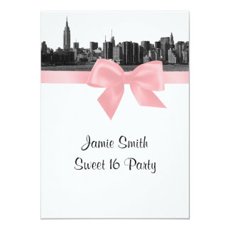 NYC Wide Skyline Etched BW Pink Sweet Sixteen 5x7 Paper Invitation Card