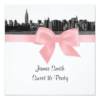 NYC Wide Skyline Etched BW Pink Sweet Sixteen SQ 5.25x5.25 Square Paper Invitation Card