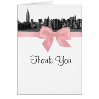 NYC Wide Skyline Etched BW Pink Thank You Stationery Note Card