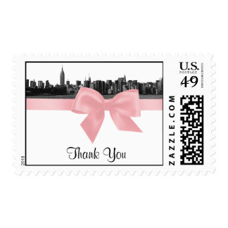NYC Wide Skyline Etched BW Pink Thank You H Postage Stamp