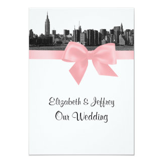 "NYC Wide Skyline Etched BW Pink Wedding 5"" X 7"" Invitation Card"
