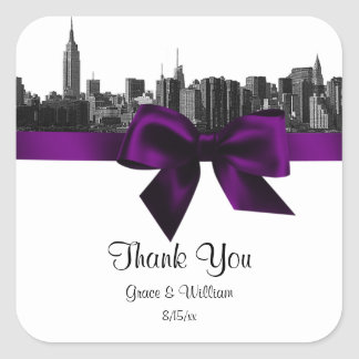 NYC Wide Skyline Etched BW Purple Favor Tag