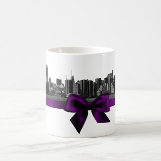 NYC Wide Skyline Etched BW Purple Mug
