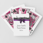 NYC Wide Skyline Etched BW Purple Playing Cards Bicycle Playing Cards