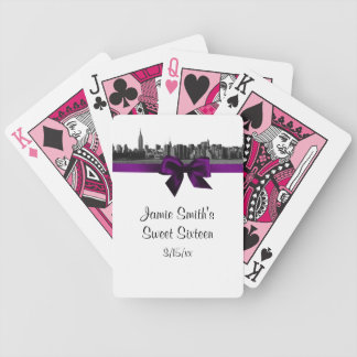 NYC Wide Skyline Etched BW Purple Playing Cards