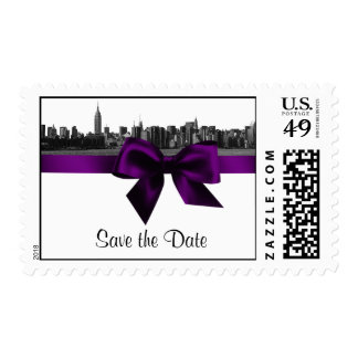 NYC Wide Skyline Etched BW Purple Save the Date H Postage Stamp