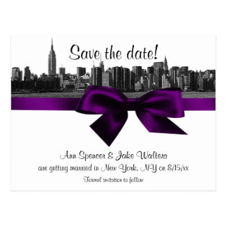 NYC Wide Skyline Etched BW Purple Save the Date Postcard