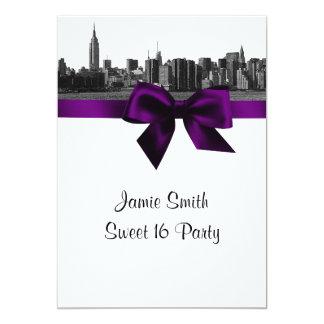 "NYC Wide Skyline Etched BW Purple Sweet Sixteen 5"" X 7"" Invitation Card"