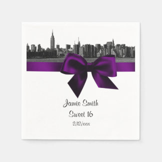 NYC Wide Skyline Etched BW Purple Sweet Sixteen Paper Napkin