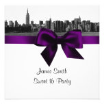NYC Wide Skyline Etched BW Purple Sweet Sixteen SQ Invitation