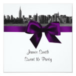 "NYC Wide Skyline Etched BW Purple Sweet Sixteen SQ 5.25"" Square Invitation Card"