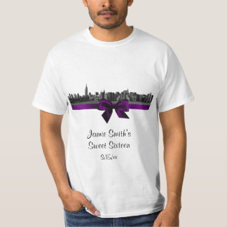 NYC Wide Skyline Etched BW Purple T-Shirt