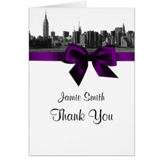 NYC Wide Skyline Etched BW Purple Thank You #2 Stationery Note Card