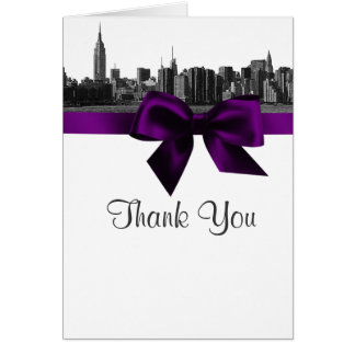 NYC Wide Skyline Etched BW Purple Thank You Stationery Note Card