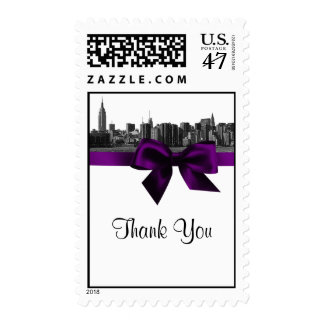 NYC Wide Skyline Etched BW Purple Thank You Postage