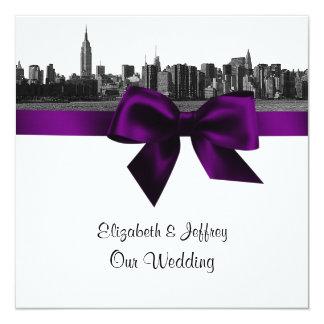 NYC Wide Skyline Etched BW Purple Wedding SQ Custom Invitations