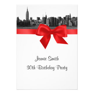 NYC Wide Skyline Etched BW Red Birthday Party Invitations