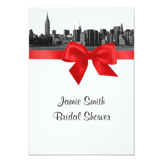NYC Wide Skyline Etched BW Red Bridal Shower Announcement