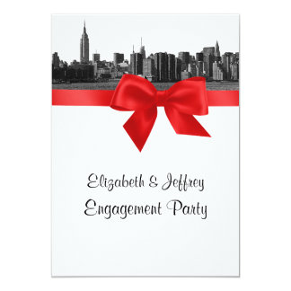 NYC Wide Skyline Etched BW Red Engagement Party Card