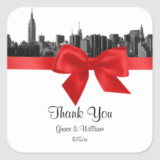 NYC Wide Skyline Etched BW Red Favor Tag