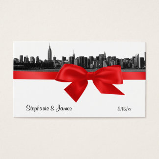 NYC Wide Skyline Etched BW Red Place Cards