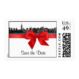 NYC Wide Skyline Etched BW Red Save the Date H Postage