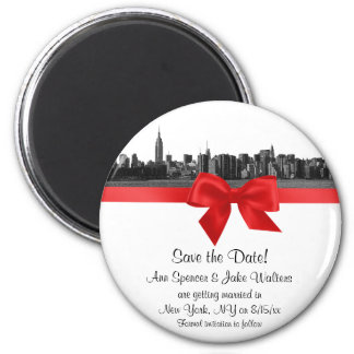 NYC Wide Skyline Etched BW Red Save the Date R 2 Inch Round Magnet