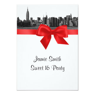 NYC Wide Skyline Etched BW Red Sweet Sixteen Card