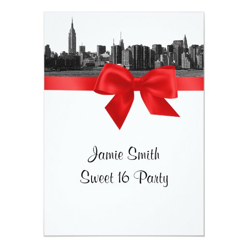 "NYC Wide Skyline Etched BW Red Sweet Sixteen 5"" X 7"" Invitation Card"