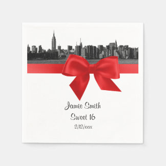 NYC Wide Skyline Etched BW Red Sweet Sixteen Disposable Napkin