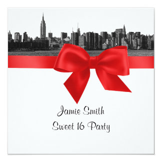 NYC Wide Skyline Etched BW Red Sweet Sixteen SQ Personalized Announcement