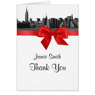 NYC Wide Skyline Etched BW Red Thank You #2 Stationery Note Card