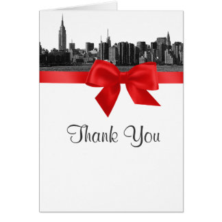 NYC Wide Skyline Etched BW Red Thank You Stationery Note Card