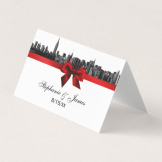 NYC Wide Skyline Etched BW Red Wedding Escort Card