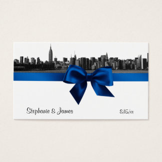 NYC Wide Skyline Etched BW Royal Bl Place Cards #2