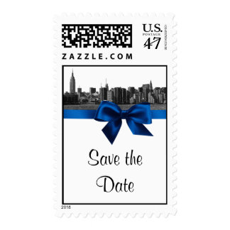 NYC Wide Skyline Etched BW Royal Blu Save the Date Postage Stamp
