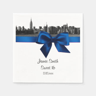 NYC Wide Skyline Etched BW Royal Blu Sweet Sixteen Paper Napkin