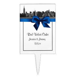 NYC Wide Skyline Etched BW Royal Blue Cake Topper