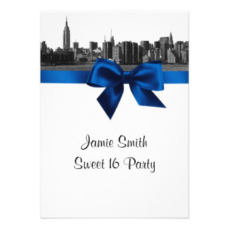 NYC Wide Skyline Etched BW Royal Blue Sweet 16 Invitations