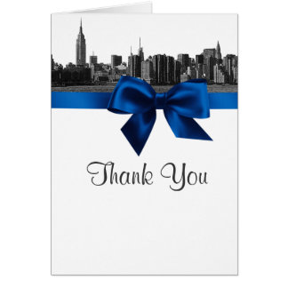 NYC Wide Skyline Etched BW Royal Blue Thank You Stationery Note Card