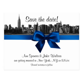 NYC Wide Skyline Etched BW Royal Save the Date Postcard