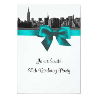"""NYC Wide Skyline Etched BW Teal Birthday Party 5"""" X 7"""" Invitation Card"""
