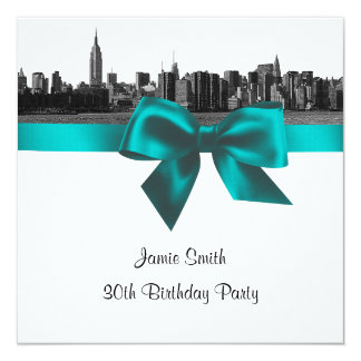NYC Wide Skyline Etched BW Teal Birthday Party SQ 5.25x5.25 Square Paper Invitation Card