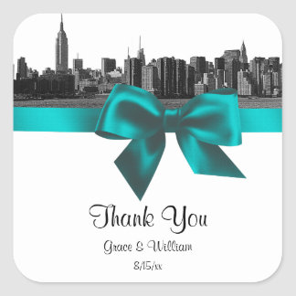 NYC Wide Skyline Etched BW Teal Favor Tag