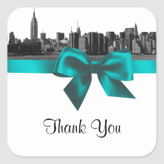 NYC Wide Skyline Etched BW Teal Favor Tag #2 Stickers